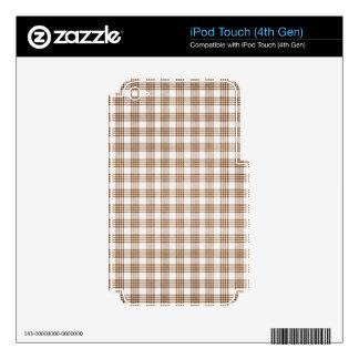 Brown y tela escocesa blanca skins para iPod touch 4G