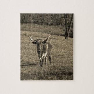 Brown y tono blanco de la sepia de Bull del fonolo Rompecabezas Con Fotos