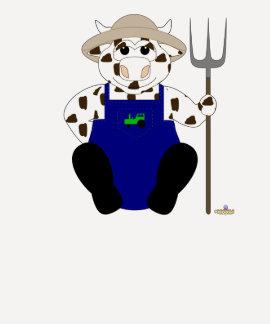Brown y vaca blanca del granjero camisetas