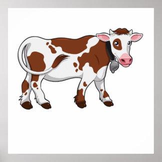 Brown y vaca blanca poster