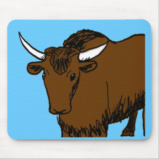 Brown Yak drawing white horns Mouse Pad