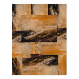 Brown Yellow Abstract Design Postcard