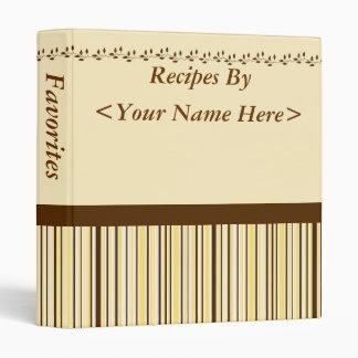 Brown, Yellow and Cream Striped Recipe Binder