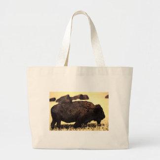 Brown Yellow Color Bison Buffalo Stamp Large Tote Bag