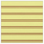[ Thumbnail: Brown & Yellow Colored Stripes Pattern Fabric ]