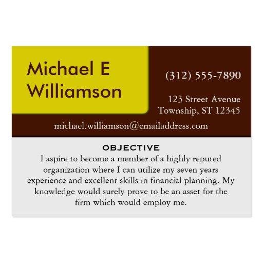 Brown Yellow Corner RESUME Business Cards