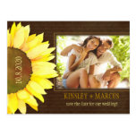 Brown & Yellow Fall Sunflower Photo Save the Date Postcard