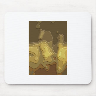 Brown Yellow Geometric Abstract Digital Art Mouse Pad