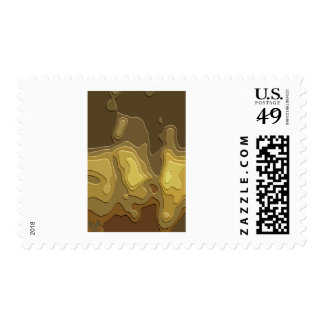 Brown Yellow Geometric Abstract Digital Art Postage