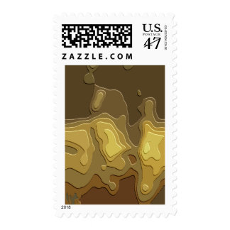 Brown Yellow Geometric Abstract Digital Art Stamp
