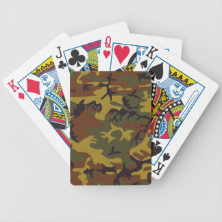 Brown yellow green camouflage design poker cards