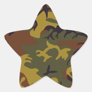 Brown yellow green camouflage design star sticker