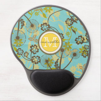brown yellow green Flowers Monogram Gel Mouse Pad