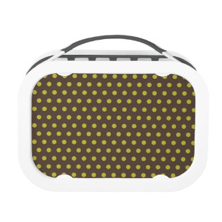 Brown & Yellow-Green Polka Dots Lunchboxes