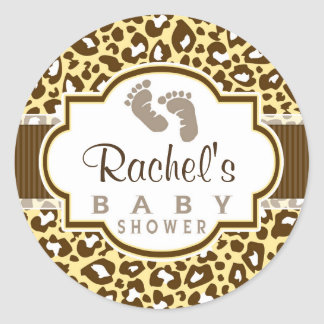 70 girl leopard baby shower stickers and girl leopard baby shower