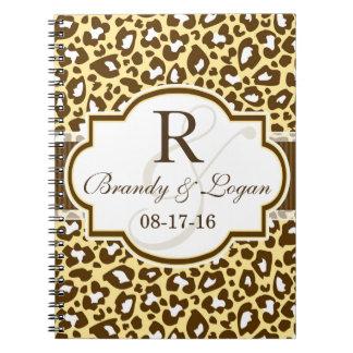 Brown, Yellow Leopard Animal Print Wedding Note Book
