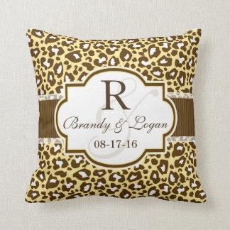 Brown, Yellow Leopard Animal Print Wedding Throw Pillow