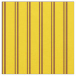 [ Thumbnail: Brown & Yellow Lines/Stripes Pattern Fabric ]