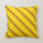 [ Thumbnail: Brown & Yellow Lines/Stripes Pattern Throw Pillow ]