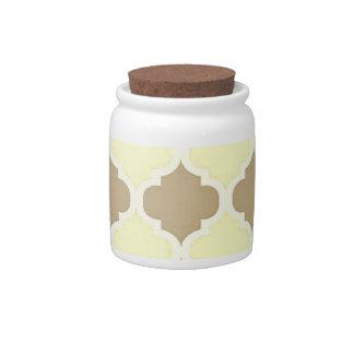 Brown Yellow Maroccan Trellis - Quatrefoil Clover Candy Jar