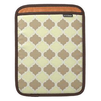 Brown Yellow Maroccan Trellis - Quatrefoil Clover iPad Sleeves
