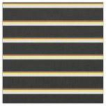 [ Thumbnail: Brown, Yellow, Mint Cream & Black Lined Pattern Fabric ]
