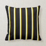 [ Thumbnail: Brown, Yellow, Mint Cream & Black Lined Pattern Throw Pillow ]
