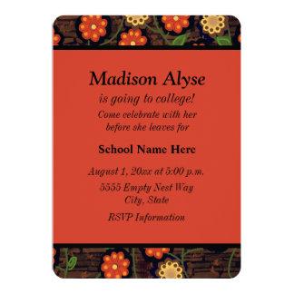 "Brown Yellow Orange Floral ""Off To College"" Invite"
