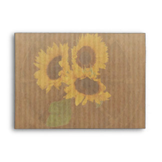 Brown yellow rustic sunflowers wedding envelope