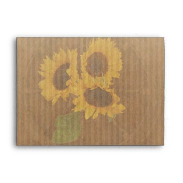 invitations_kits Brown yellow rustic sunflowers wedding envelope