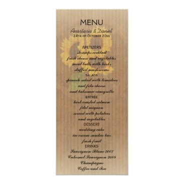 invitations_kits Brown yellow rustic sunflowers wedding menu card
