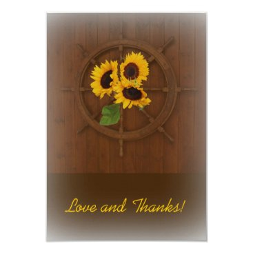 invitations_kits Brown yellow rustic sunflowers wedding thank you card