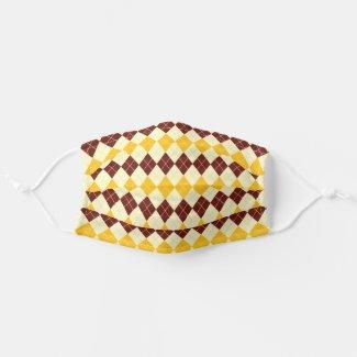 Brown - Yellow Scottish Tartan-Pattern Cloth Face Mask
