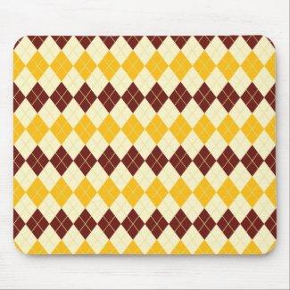 Brown - Yellow Scottish Tartan-Pattern Mouse Pad
