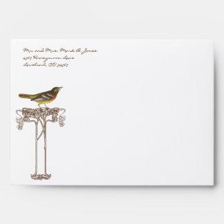 Brown & Yellow Vintage Bird Tree Wedding Envelopes