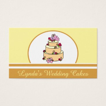 Professional Business Brown Yellow Wedding Cake Bakery Business Card