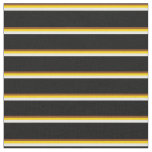 [ Thumbnail: Brown, Yellow, White & Black Colored Lines Fabric ]