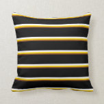 [ Thumbnail: Brown, Yellow, White & Black Colored Lines Pillow ]