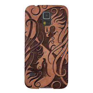 Brown Yin de piedra Yang Phoenix Carcasas Para Galaxy S5