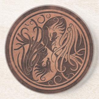Brown Yin de piedra Yang Phoenix Posavasos Para Bebidas