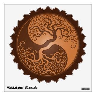 Brown Yin Yang Tree Wall Stickers