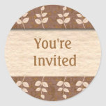 Brown You're Invited Envelope Seals Round Stickers