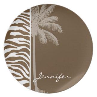 Brown Zebra Animal Print; Palm Dinner Plates