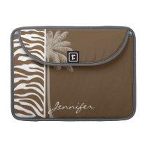Brown Zebra Animal Print; Palm Sleeve For MacBook Pro
