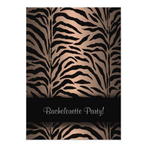 Brown Zebra Bachelorette Party Invitations