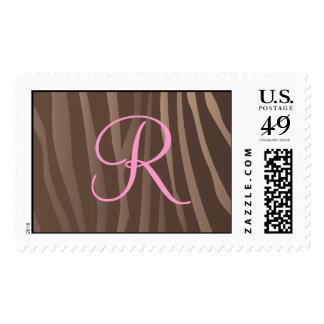 Brown Zebra Monogram Stamps