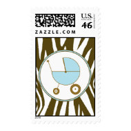 Brown Zebra Print Baby Boy postage stamp stamp