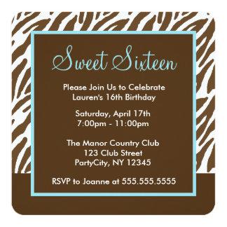 Brown Zebra Print Sweet Sixteen Party Card
