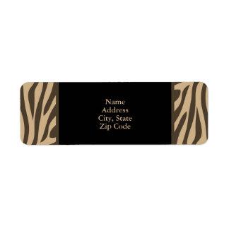 Brown Zebra Print with Black Custom Return Address Labels