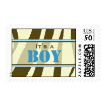 Brown Zebra Print with Blue Baby Postage Stamp